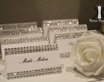 Rhinestone place cards SET OF 25 Bling tent cards place cards name ...