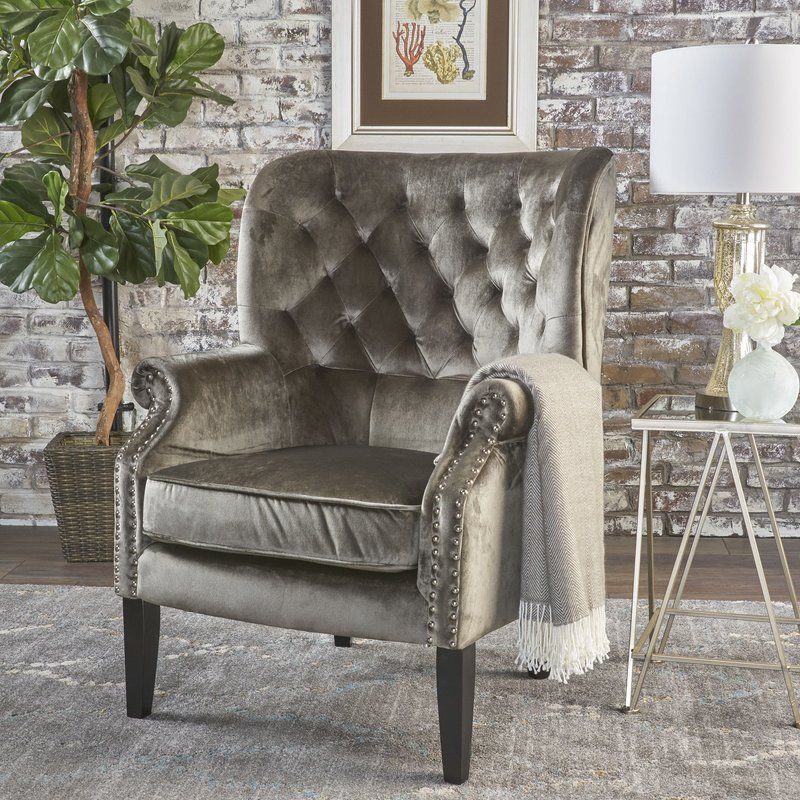 Anamaria 307 wide tufted velvet wingback chair