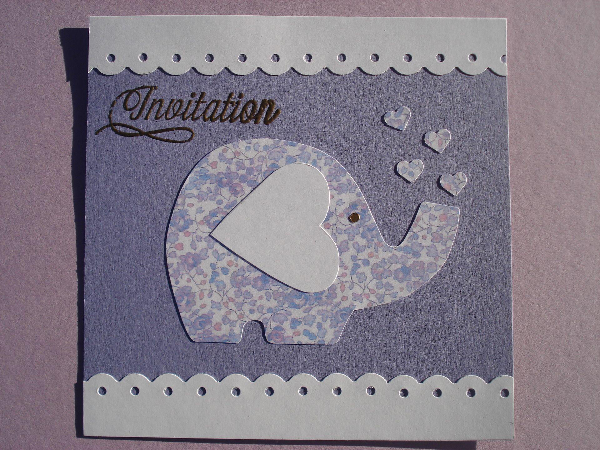 Cartes d'invitation anniversaire enfant, thème éléphant : Ecole et loisirs par filsetcouleurs