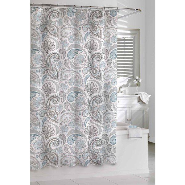 Kassatex Cotton Paisley Shower Curtain Color Blue Gray
