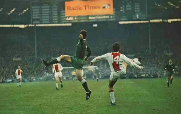 Ajax 2 Panathinaikos 0 in June 1971 at Wembley. Johan Cruyff shows great  control in the European Cup Final.