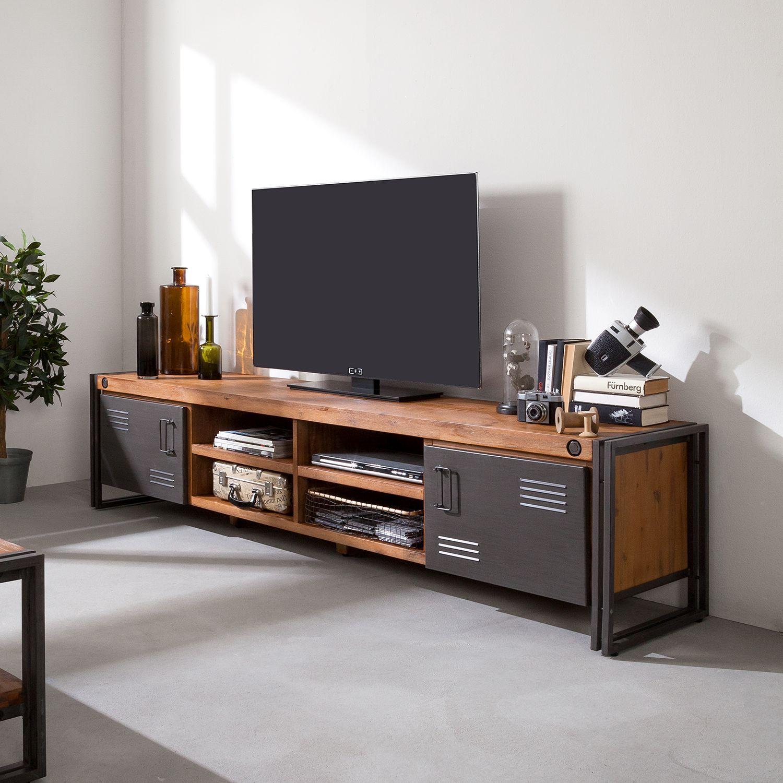 Meuble Tv Grande Taille meuble tv manchester - acacia massif / métal | möbel