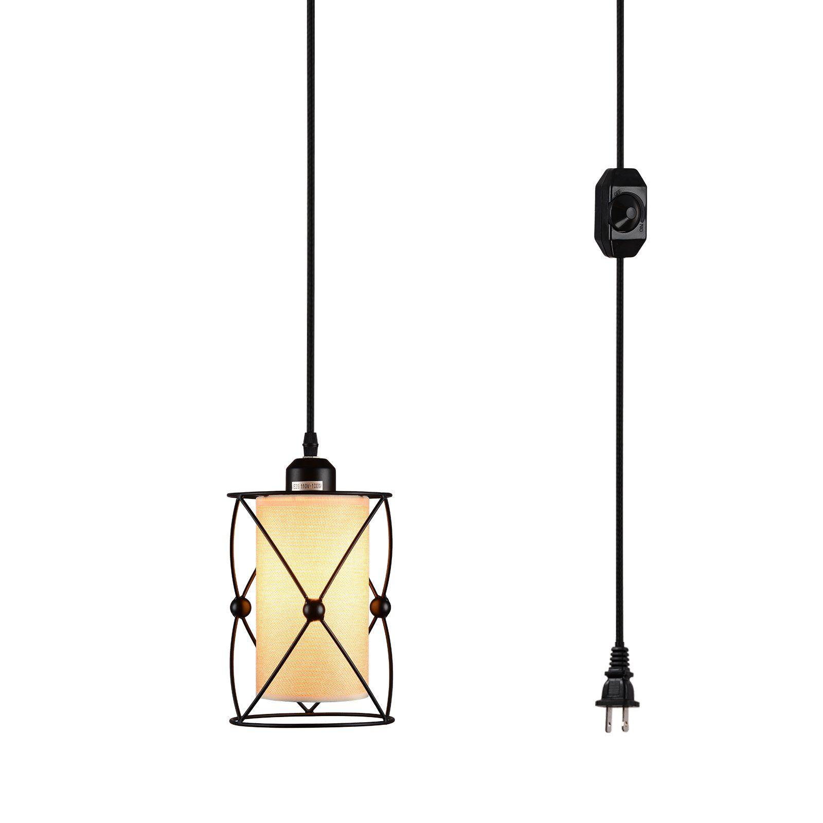 modern industrial pendant lighting. Creatgeek Plug-In Modern Industrial Pendant Light With Linen Drum Lamp Shabe, 15\u0027 Lighting