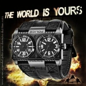 Police Men's Dominator Wide Black Dual-Time Leather Watch from Sovero.Co — Fashion Fantique ASIN: B005GCIPPE #PoliceTimepieces #PoliceWatches $199.95