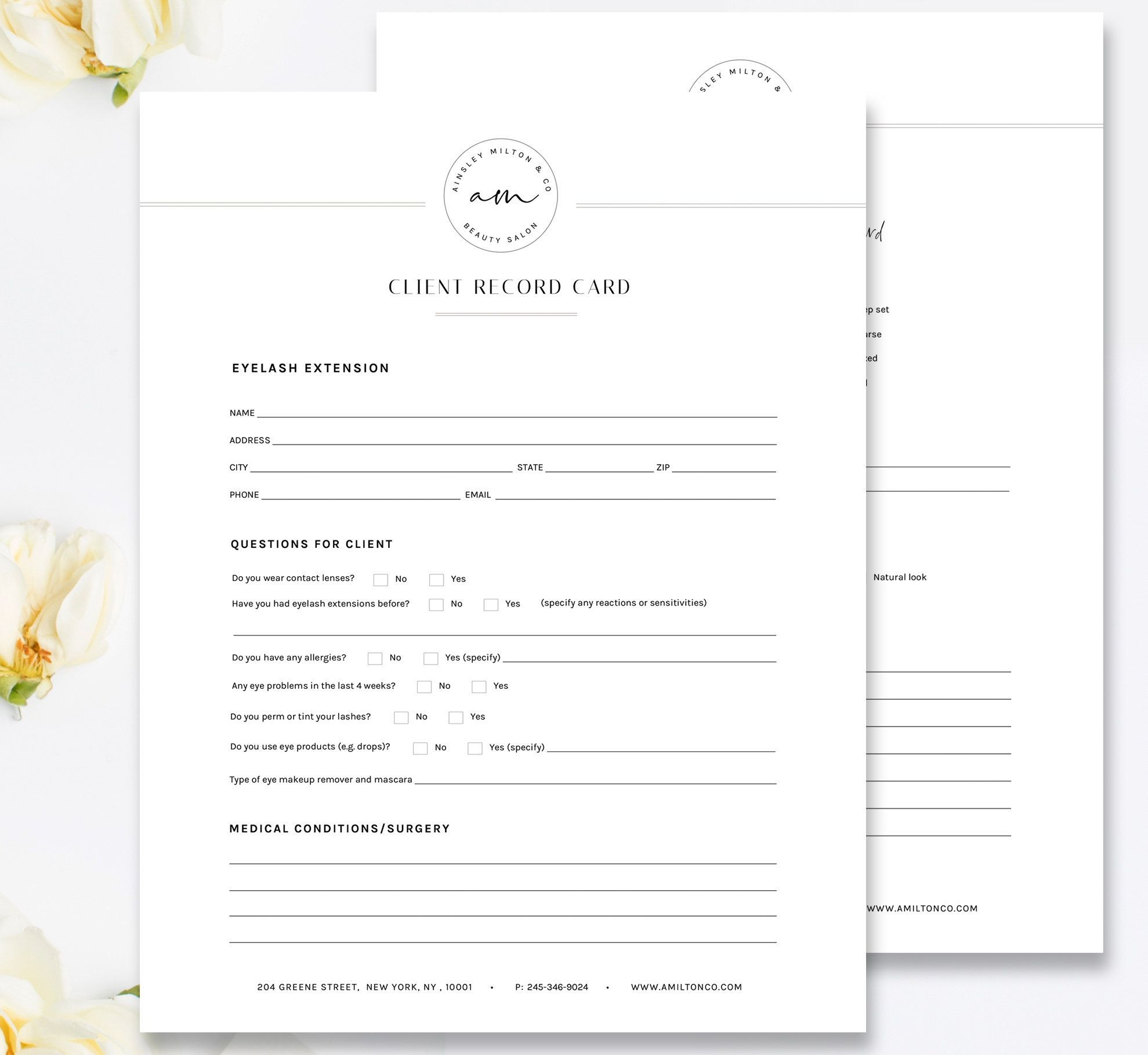 Eyelash Technician Consultation And Client Record Card New Etsy Eyelash Technician Bi Fold Brochure Photoshop Template