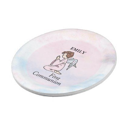 sc 1 st  Pinterest & Girl First Communion Angel Paper Plate