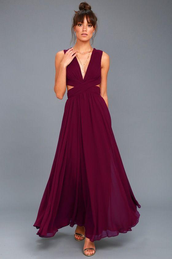 Vivid Imagination Plum Purple Cutout Maxi Dress | vestidos ...