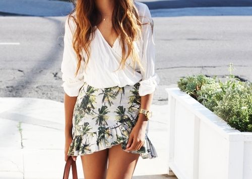 cute holiday-like skirt paired with white blouse, perfect summer style!