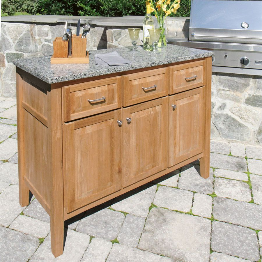 Incredible Teak Outdoor Buffet Cabinet With U Shaped Drawer Pulls From Satin Anodized Aluminum Tubing And Emtek Stainless Steel Round Also Viking Built