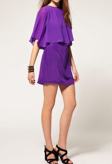 Purple Half Sleeve Cape Zipper Chiffon Dress pictures