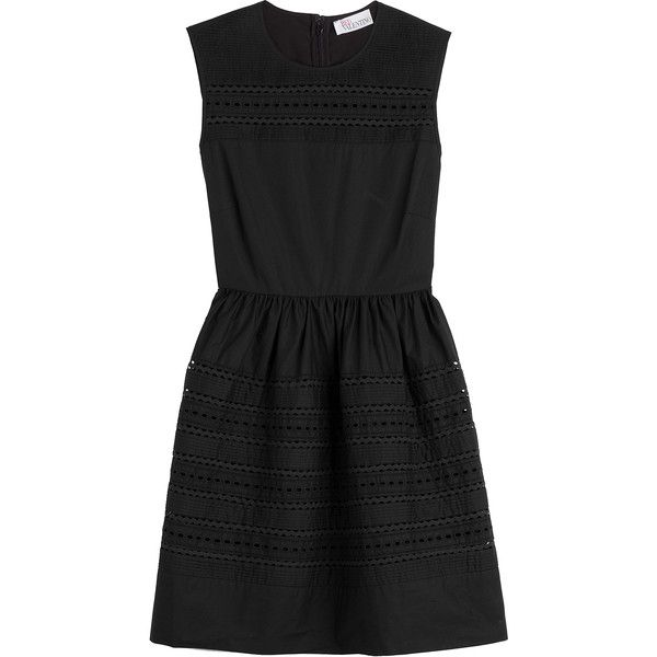 R.E.D. Valentino Cotton Dress (€435) ❤ liked on Polyvore featuring dresses, black, red valentino, fit flare dress, cotton sheath dress, eyelet dress and cotton eyelet dress