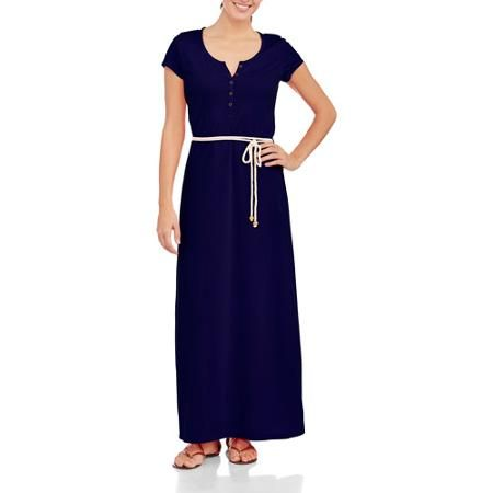 Faded Glory Henley Maxi Dress With Rope Belt