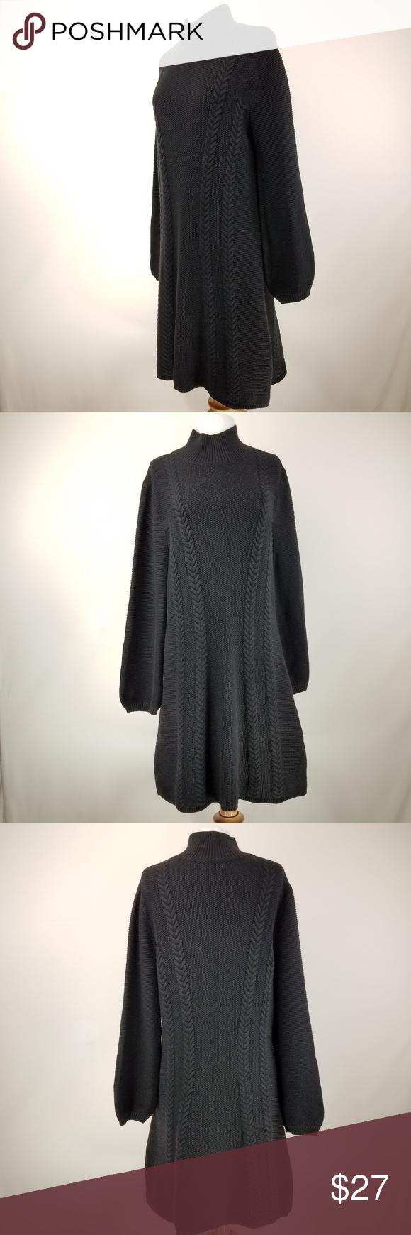 Sweater dress black turtleneck cable knit ml my posh picks