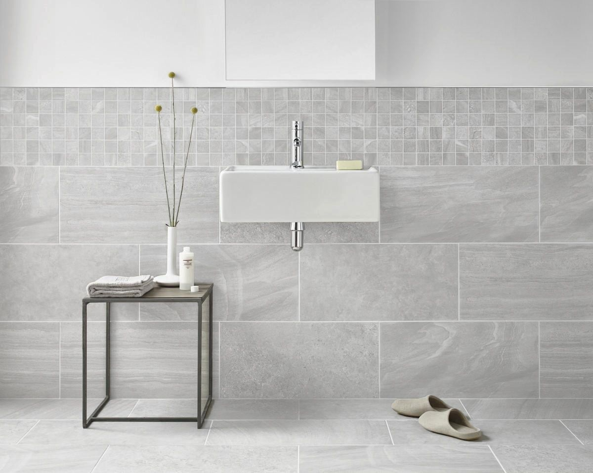 Inverno Grey Marble Effect Rectified Wall And Floor Tile | En suite ...