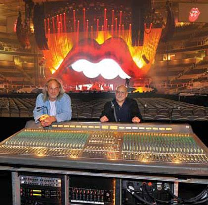 FOH engineer Dave Natale (left) and system tech Jo Ravich at the