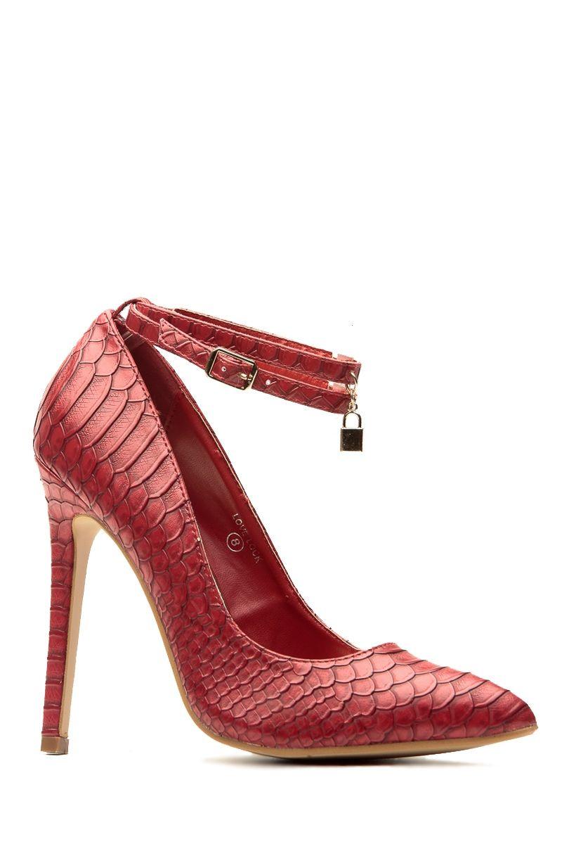 27e8c6e7e22 Wine Faux Snake Skin Pointed Toe Ankle Strap Heels   Cicihot Heel Shoes