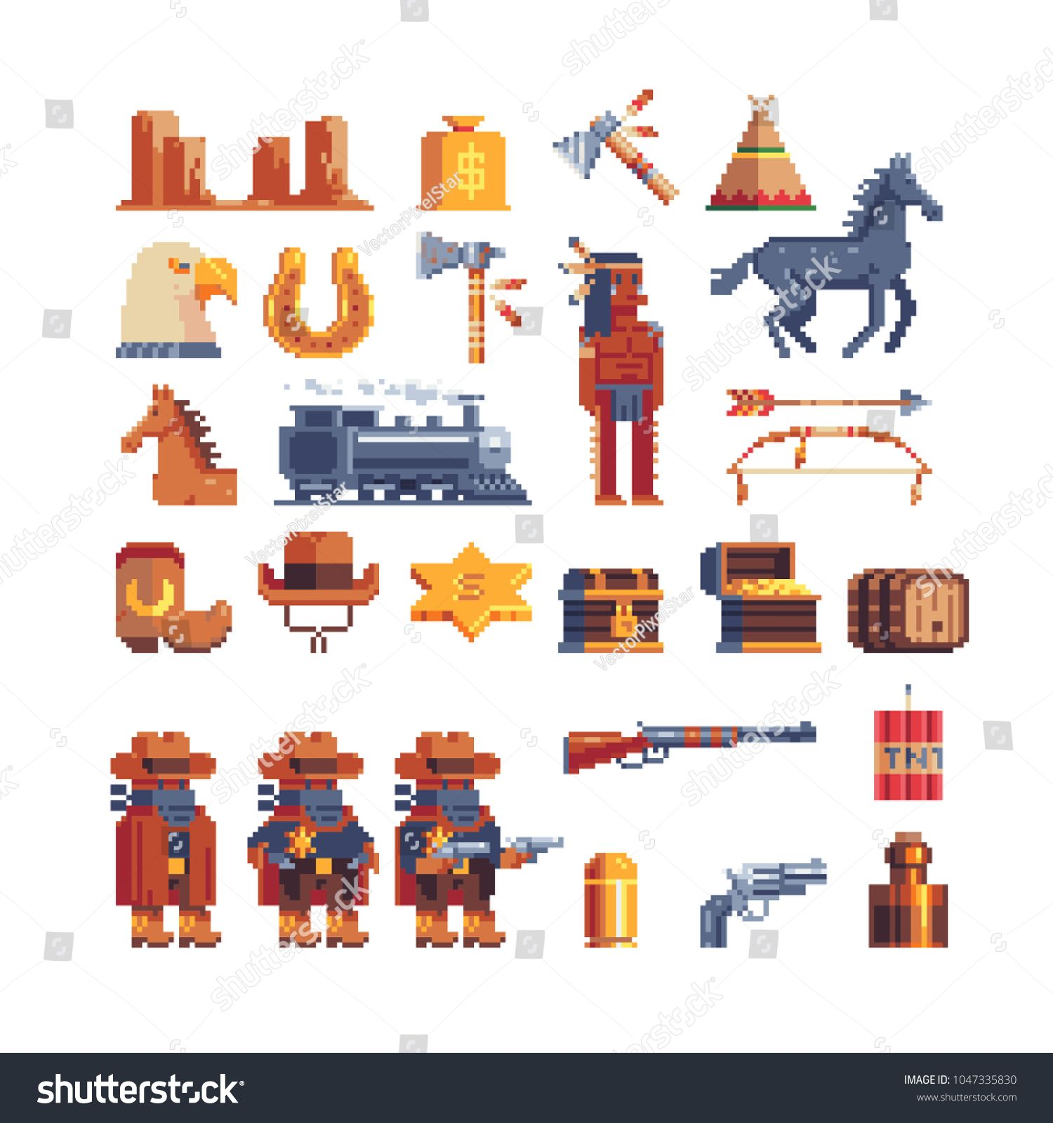 Western wild west pixel art icon. Design for mobile app