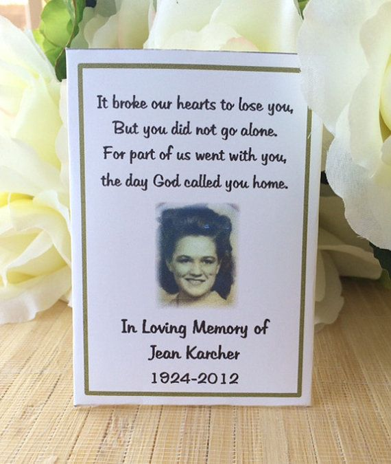 Rememberance cards Memorial Cards Memorial Seed by FavorUniverse - funeral words for cards