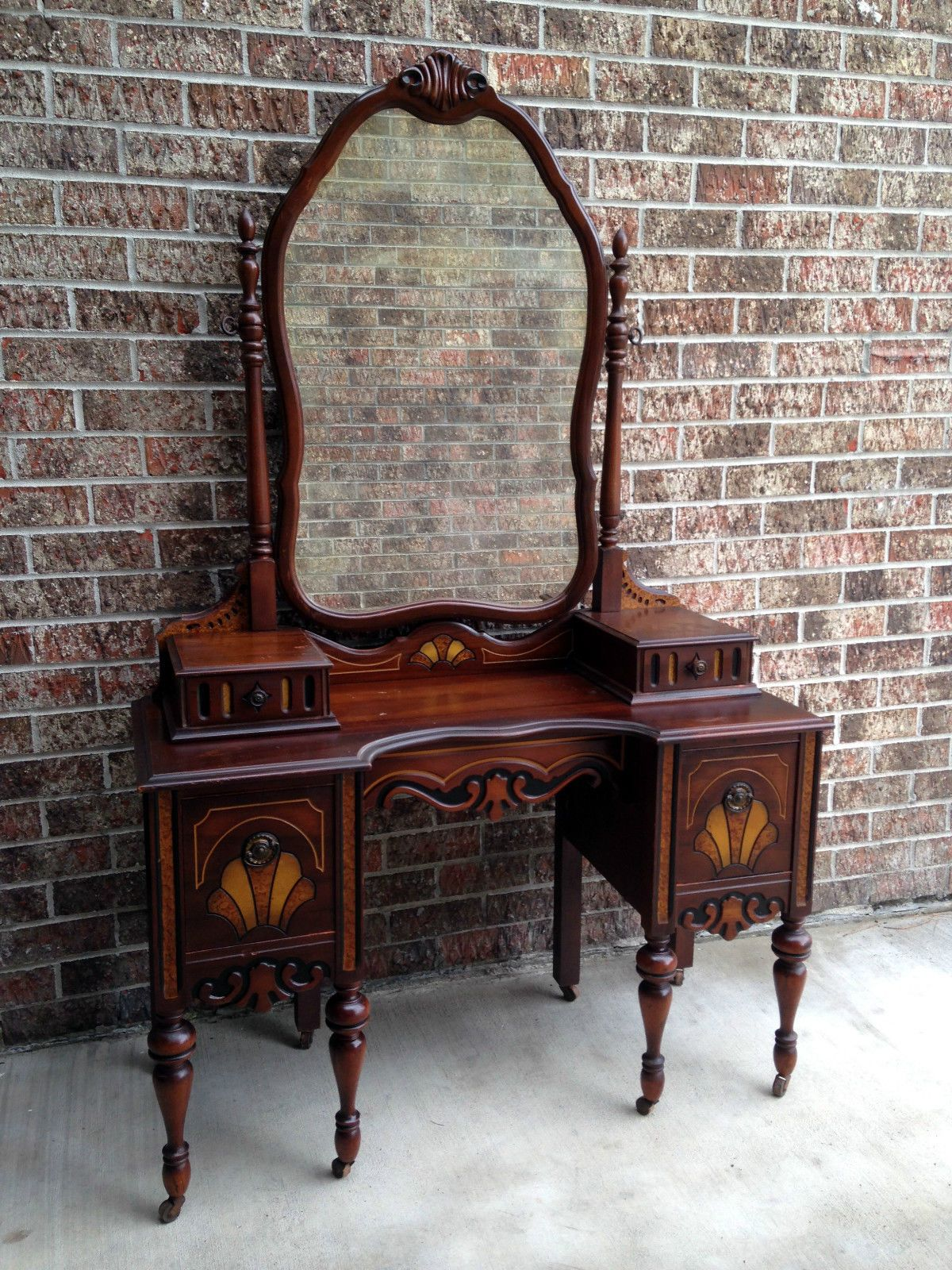 Charmant Antique Bedroom Vanity Makeup Dressing Table Desk W Gorgeous Mirror Ornate  | EBay