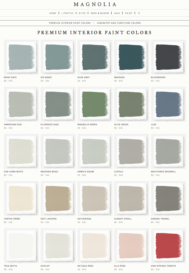 Joanna Gaines Magnolia Home Paint Line Rainy Days Sir Drake Duke Gray Weekend Blackboard Americana Egg Silverado Sage Green