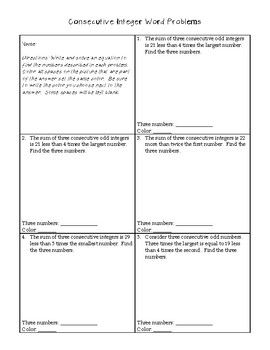 Consecutive Integer Word Problems Coloring Page Integers Word