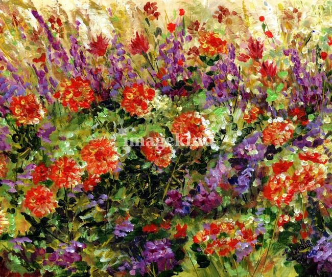 """Bed of Flowers Impressionist painting by Ginette"" by Ginette Callaway, Georgia // Painted in 2000. The original is sold. // Imagekind.com -- Buy stunning, museum-quality fine art prints, framed prints, and canvas prints directly from independent working artists and photographers."