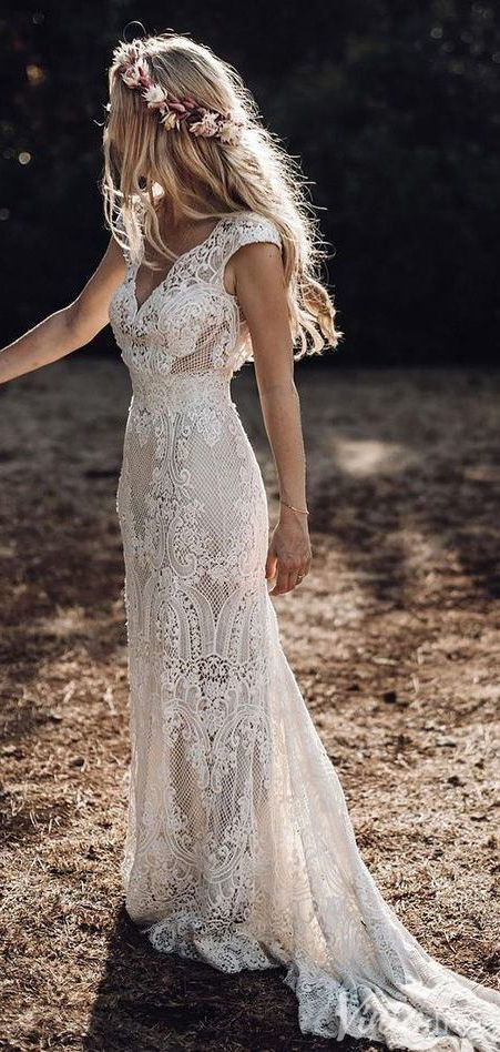 Rustic Lace Wedding Dresses Sheath Beach Boho Wedding Dress Viniodress VW1057