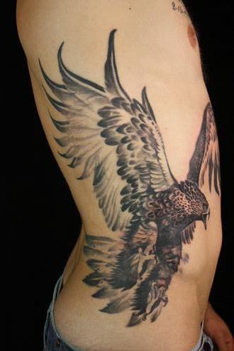 Right Side Rib Hawk Tattoo For Men