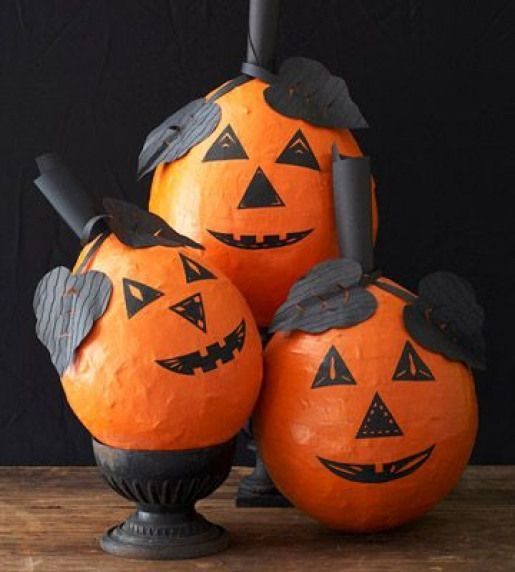 Papier Mache Halloween Pumpkin Craft – has links to free face & pumpkin leaf pat…