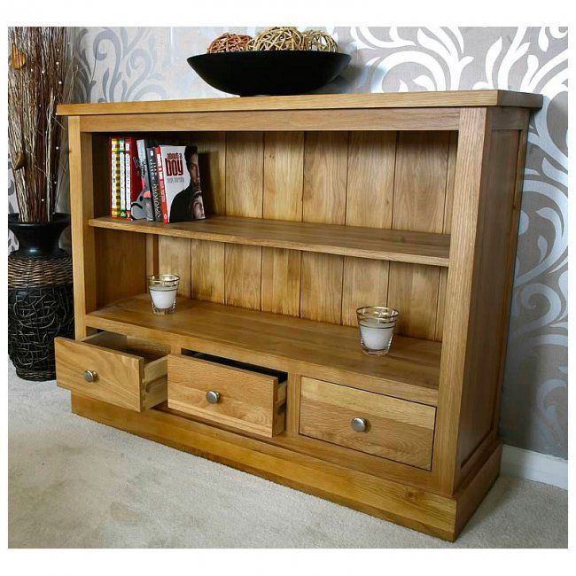 Small Low Solid Oak Bookcase With Drawers Glenmore