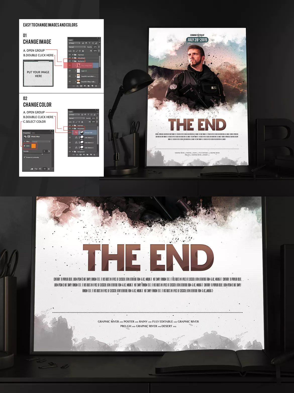 The End Movie Poster Flyer Template Psd A4 Unlimiteddownloads