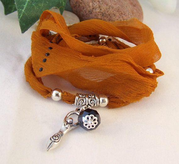 Sari Silk Ribbon Wrap Bracelet  Frayed Edge by whiteravendesignsau, $22.50