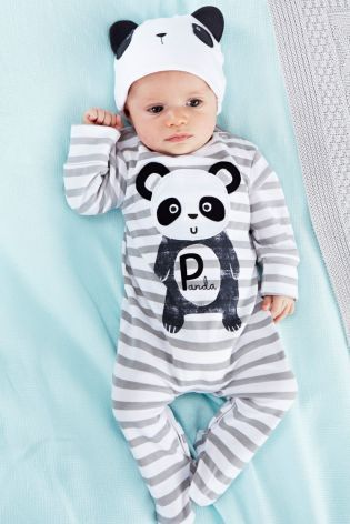 285eb4a94e5 Buy Two Pack Panda Sleepsuits And Hat Set (0-2yrs) from the Next UK online  shop