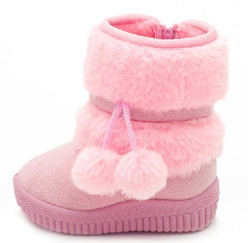21bdbee1c460 DADAWEN Little Girl s Bany Flat Pom Pom Ankle Boot Pink US Size 5 M Toddler( Toddler Little Kid Big Kid)