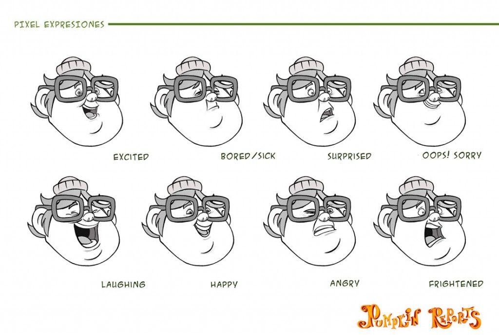 Bocetos Caras Expresiones De Dibujos Animados Pixel