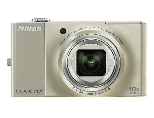 Nikon Coolpix S8000 14 MP Digital Camera with 10x Optical Vibration Reduction (VR) Zoom and 3.0-Inch LCD (Silver) by Nikon. $279.00. From the Manufacturer                 Nikon's super slim, clearly brilliant Coolpix S8000 combines 14.2 effective megapixels with an incredible 10x optical Zoom-Nikkor ED glass lens for stunning prints as large as 20x30 inches. The camera features an incredible, bright 3.0-inch High Resolution VGA (921-k dot) LCD for composing and sharing...