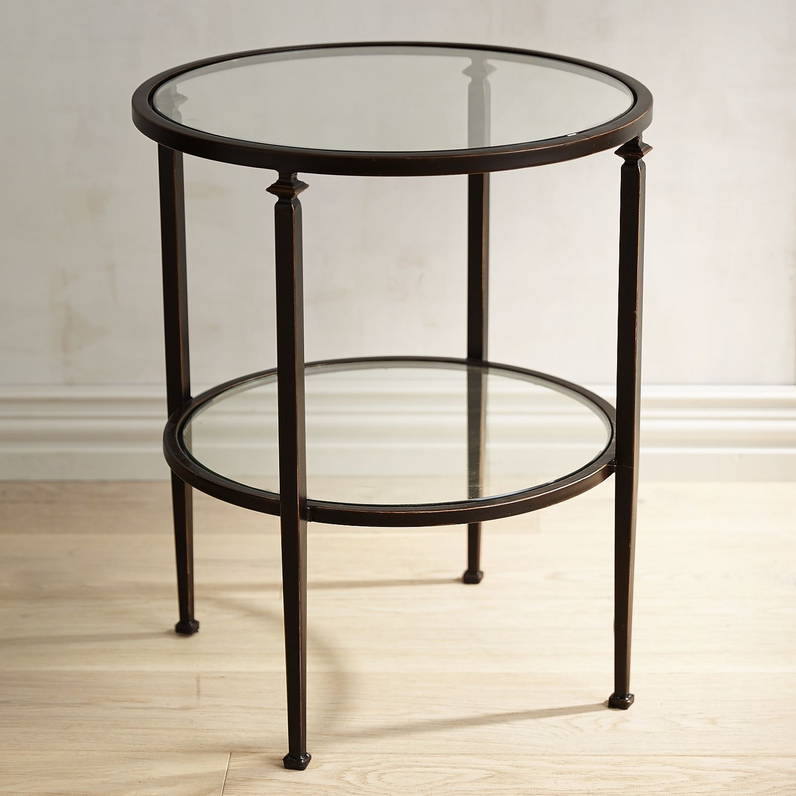Our Lincoln Round End Table Has A Slender Bronze Wrought Iron