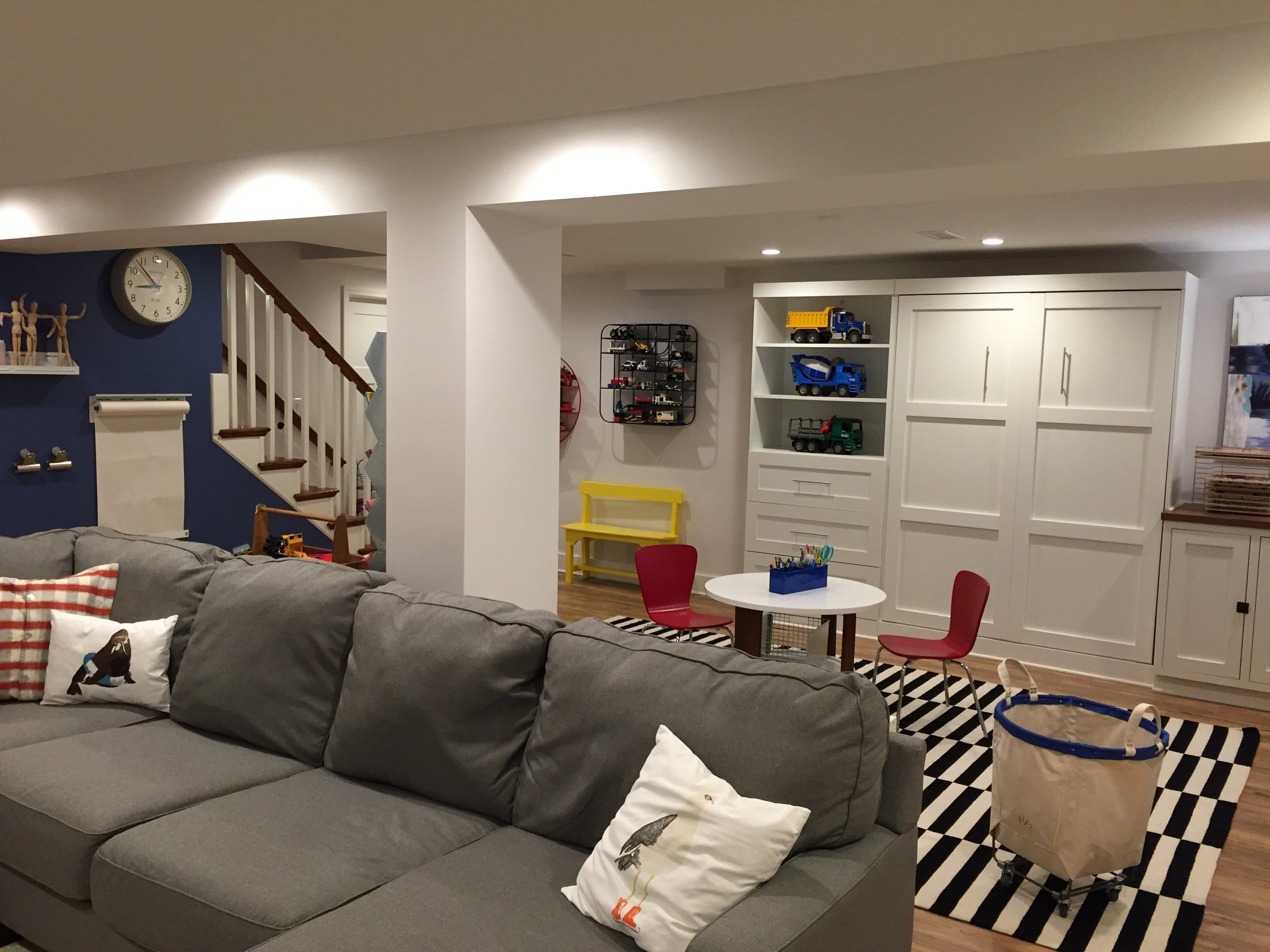 Before After Lacey S Multifunctional Basement Finition De