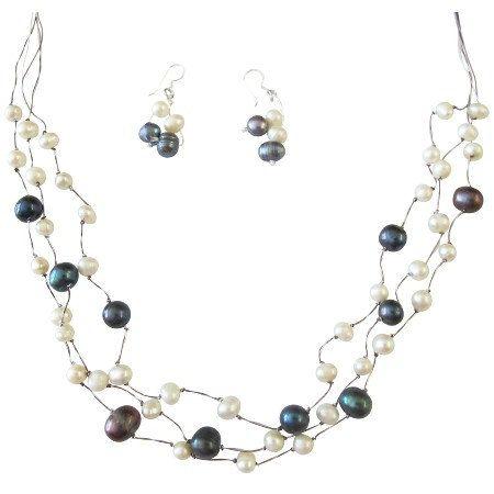 Brd845 Freshwater Pearls Dark Blue By Fashionjewelryforeve