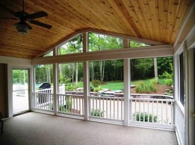 Screened porch with tongue and groove cedar ceiling for Cedar sunroom