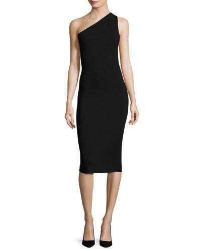 DIANE VON FURSTENBERG One-Shoulder Knit Midi Dress, Black. #dianevonfurstenberg #cloth #