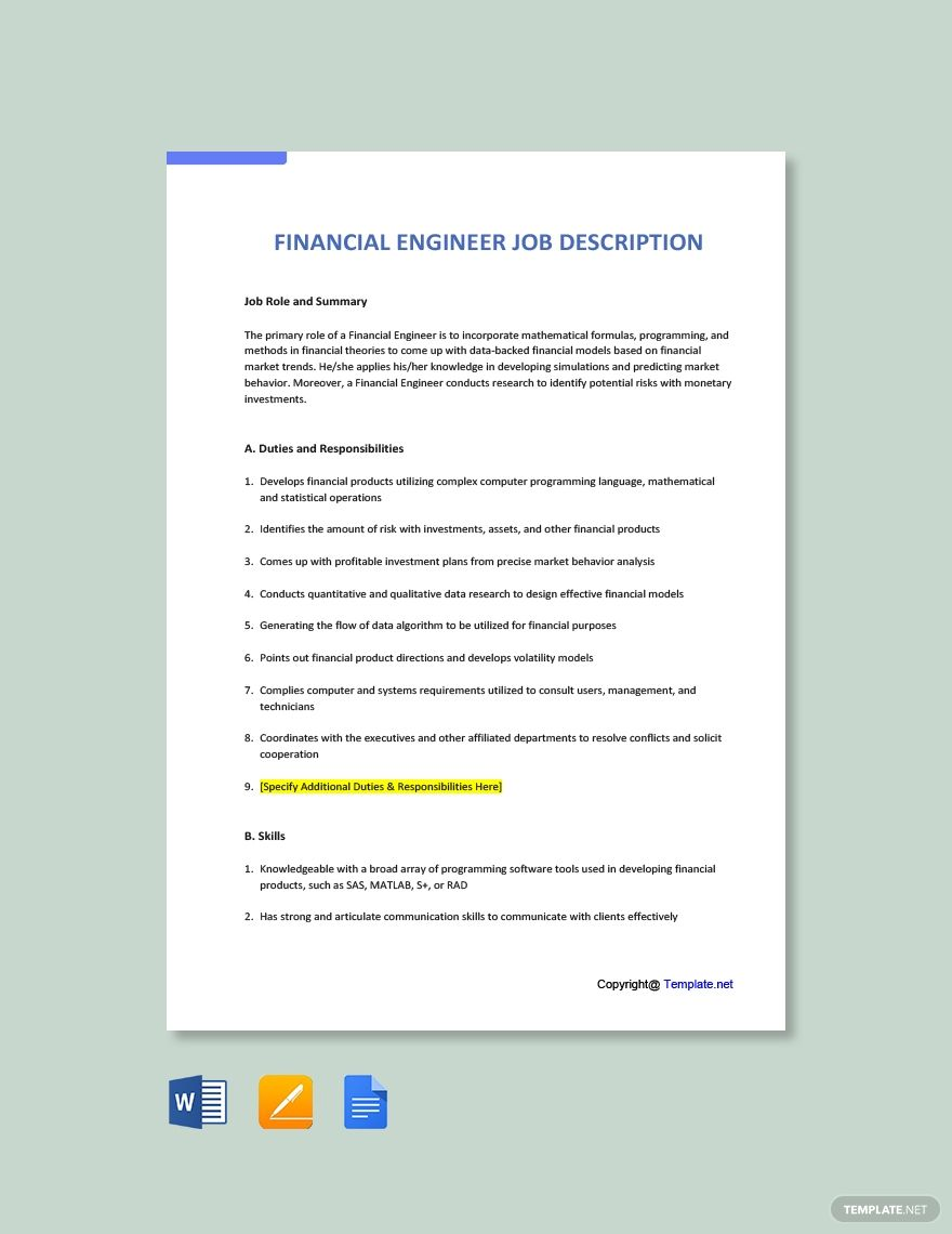 FREE Financial Engineer Job Ad and Description Template