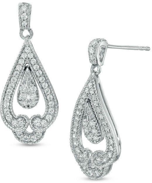 Zales Double Teardrop Earrings in Sterling Silver NBEYIxhL