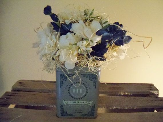Tea Tin Flower Boxes by TheBlueSpottedOwl on Etsy, $10.00... FREE SHIPPING!  Now thru CYBER MONDAY, just enter coupon code:  gobbleupfreeshipping at check out!