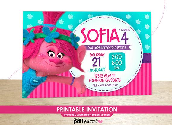 picture relating to Free Printable Trolls Invitations titled Pin upon Products and solutions