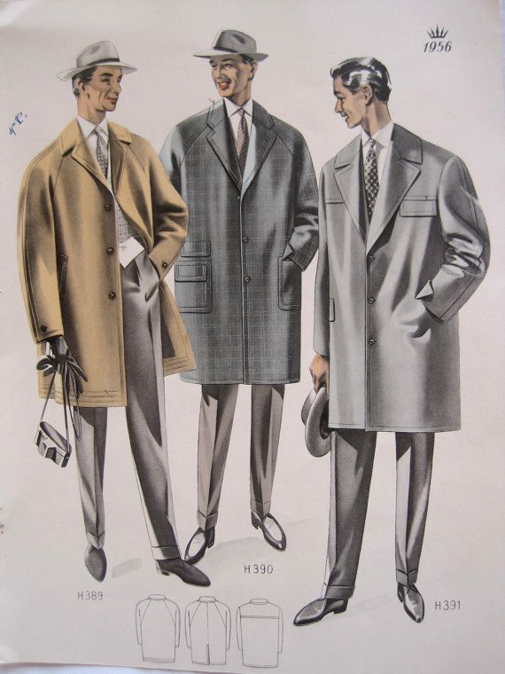 Vintage French Fabulous 1956 Mens Fashion Print From A Clothing Catalogue By VintageFrenchFinds 2200