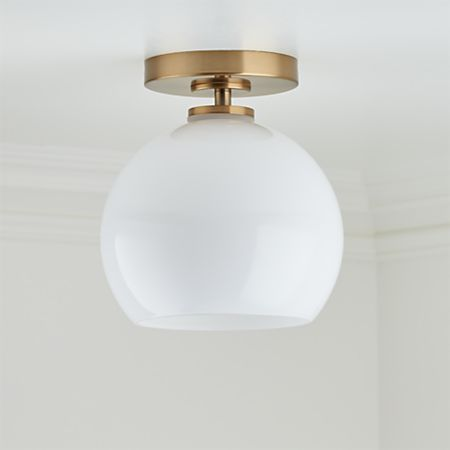 Arren Brass Flush Mount Light With Milk Round Shade Crate And Barrel Flush Mount Lighting Black Flush Mount Light Flush Lighting