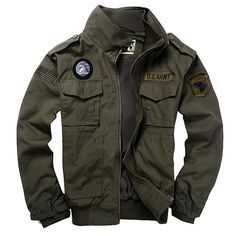 New Men's USA Army Air Force Military Jacket Collar Bomber