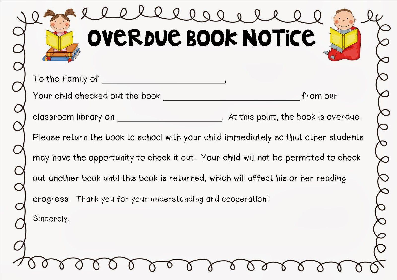 Overdue Book Notice Kindergarten Google Search School Library Books Preschool Library Elementary School Library [ 1131 x 1600 Pixel ]