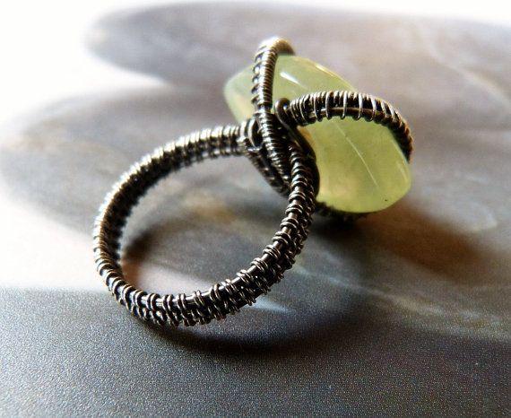 CIJ SALE 15 Prehnite Sterling silver ring handmade wire by Mirma